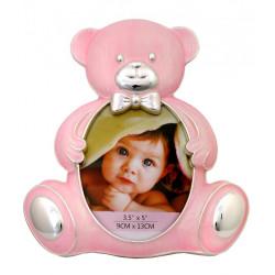 Ramka na zdjęcie dziecka 9x13. Różowy miś
