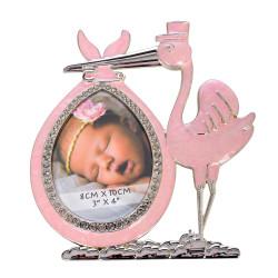 Ramka na zdjęcie dziecka. Różowy bocian