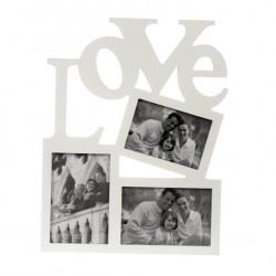 Ramka biała na 3 zdjęcia LOVE