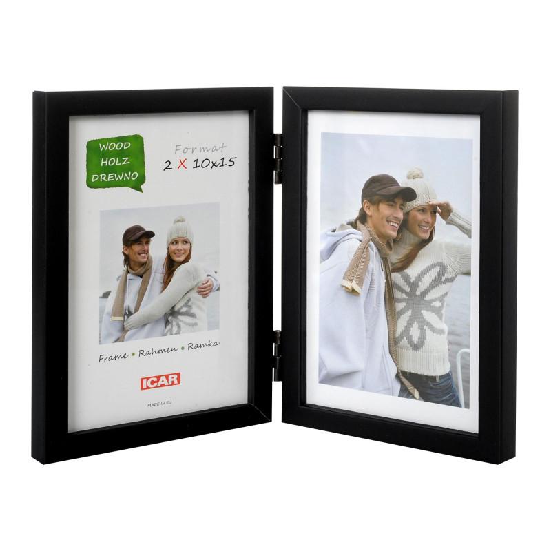 Ramka drewniana na dwa zdjęcia 10x15 czarna