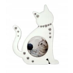 Ramka na zdjęcie dziecka. Biały kotek