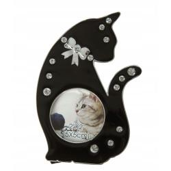 Ramka na zdjęcie dziecka. Czarny kotek