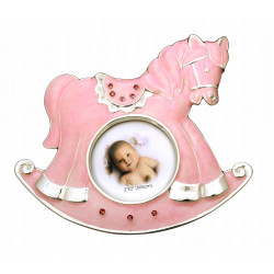 Ramka na zdjęcie dziecka. Różowy konik