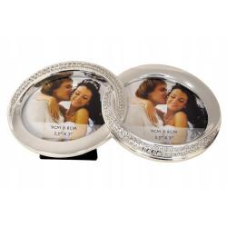 Ramka metalowa dwa zdjęcia obrączki Prezent Ślub