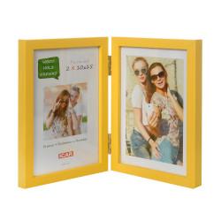 Ramka drewniana na dwa zdjęcia 10x15 żółta