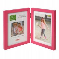 Ramka drewniana na dwa zdjęcia 10x15 różowa