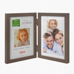 Ramka drewniana na dwa zdjęcia 10x15 beżowa