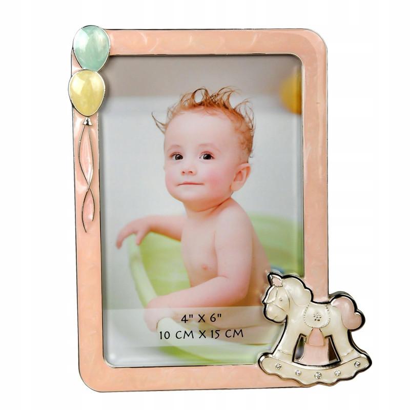 Ramka na zdjęcie dziecka 10x15 Różowa posrebrzana