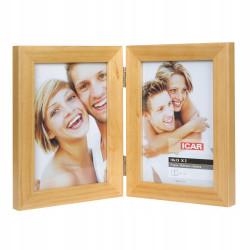 Ramka drewniana podwójna na dwa zdjęcia 10x15