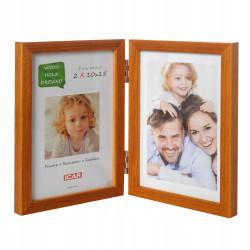 Ramka drewniana na dwa zdjęcia 10x15 Jasne drewno
