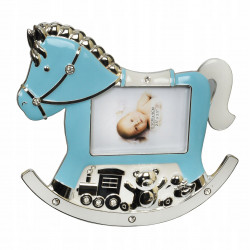 Ramka na zdjęcie dziecka. Niebieski konik