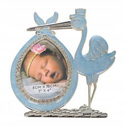 Ramka na zdjęcie dziecka Prezent Niebieski bocian
