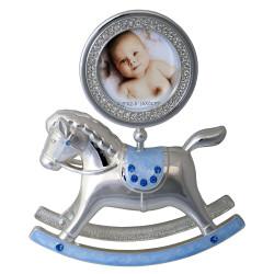 Ramka na zdjęcie dziecka 6x6. Niebieski konik
