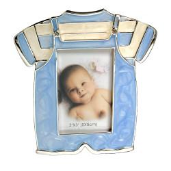 Ramka na zdjęcie dziecka. Niebieskie ubranko