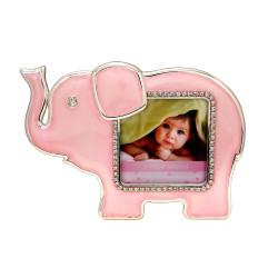 Ramka na zdjęcie dziecka. Różowy słonik