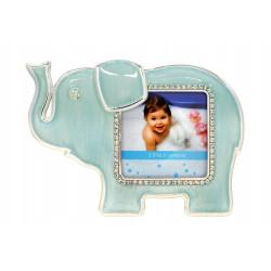 Ramka na zdjęcie dziecka. Niebieski słonik